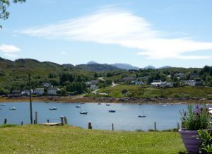 The view from the garden across Badachro Bay from Ceomara Highland Cottages